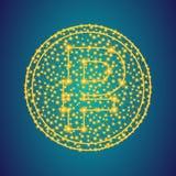 Χρυσό σημάδι εικονιδίων χρημάτων ρουβλιών στο polygonal χαμηλό πολυ υπόβα στοκ φωτογραφίες με δικαίωμα ελεύθερης χρήσης