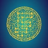 Χρυσό σημάδι εικονιδίων χρημάτων φράγκων στο polygonal χαμηλό πολυ υπόβαθ στοκ εικόνα με δικαίωμα ελεύθερης χρήσης