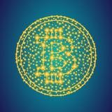 Χρυσό σημάδι εικονιδίων χρημάτων bitcoin στο polygonal χαμηλό πολυ υπόβαθρο γ στοκ φωτογραφία με δικαίωμα ελεύθερης χρήσης
