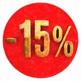 Χρυσό σημάδι 15 τοις εκατό στο κόκκινο Στοκ φωτογραφίες με δικαίωμα ελεύθερης χρήσης
