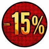Χρυσό σημάδι 15 τοις εκατό στο κόκκινο Στοκ εικόνες με δικαίωμα ελεύθερης χρήσης