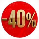 Χρυσό σημάδι 40 τοις εκατό στο κόκκινο ελεύθερη απεικόνιση δικαιώματος