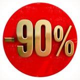Χρυσό σημάδι 90 τοις εκατό στο κόκκινο ελεύθερη απεικόνιση δικαιώματος