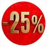 Χρυσό σημάδι 25 τοις εκατό στο κόκκινο Στοκ Εικόνες
