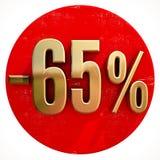 Χρυσό σημάδι 65 τοις εκατό στο κόκκινο Στοκ εικόνα με δικαίωμα ελεύθερης χρήσης