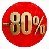 Χρυσό σημάδι 80 τοις εκατό στο κόκκινο Στοκ Εικόνες