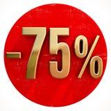 Χρυσό σημάδι 75 τοις εκατό στο κόκκινο Στοκ εικόνες με δικαίωμα ελεύθερης χρήσης