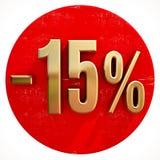 Χρυσό σημάδι 15 τοις εκατό στο κόκκινο Στοκ φωτογραφία με δικαίωμα ελεύθερης χρήσης