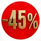 Χρυσό σημάδι 45 τοις εκατό στο κόκκινο Στοκ Εικόνες