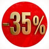 Χρυσό σημάδι 35 τοις εκατό στο κόκκινο Στοκ φωτογραφία με δικαίωμα ελεύθερης χρήσης