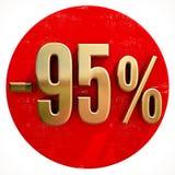 Χρυσό σημάδι 95 τοις εκατό στο κόκκινο Στοκ Φωτογραφίες