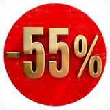 Χρυσό σημάδι 55 τοις εκατό στο κόκκινο Στοκ Φωτογραφίες