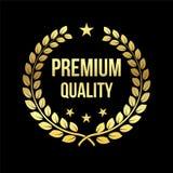 Χρυσό στεφάνι δαφνών Βραβείο εξαιρετικής ποιότητας διακριτικό χρυσό Στοιχείο σχεδίου για την πώληση, θέμα λιανικής πώλησης επίσης απεικόνιση αποθεμάτων