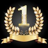 Χρυσό στεφάνι για το νικητή και τον αριθμό ένας στοκ εικόνα