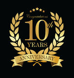Χρυσό στεφάνι δαφνών επετείου 10 έτη Στοκ εικόνα με δικαίωμα ελεύθερης χρήσης