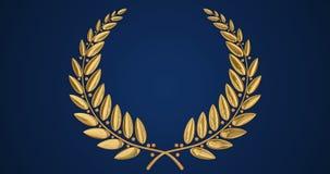 Χρυσό στεφάνι στο μπλε υπόβαθρο απόθεμα βίντεο