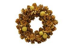 Χρυσό στεφάνι Χριστουγέννων νέο έτος απομονωμένος στοκ εικόνα με δικαίωμα ελεύθερης χρήσης