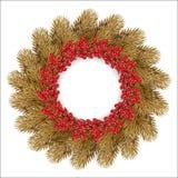 Χρυσό στεφάνι Χριστουγέννων απεικόνιση αποθεμάτων