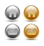 χρυσό στρογγυλό ασήμι κουμπιών Στοκ Εικόνες