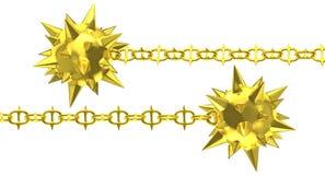 Χρυσό σφυρί μετεωριτών με την ακιδωτή αλυσίδα ελεύθερη απεικόνιση δικαιώματος