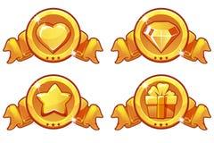 Χρυσό σχέδιο εικονιδίων κινούμενων σχεδίων για, αστεριών, θερμότητας, δώρων και διαμαντιών εικονίδια παιχνιδιών, τα διανυσματικά  Στοκ Φωτογραφία