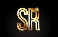χρυσό σχέδιο εικονιδίων συνδυασμού λογότυπων SR s ρ επιστολών αλφάβητου διανυσματική απεικόνιση
