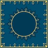 Χρυσό σχέδιο στο μπλε στο νεοκλασσικό ύφος διανυσματική απεικόνιση