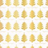 Χρυσό σχέδιο χριστουγεννιάτικων δέντρων Luxe, άνευ ραφής διανυσματικό υπόβαθρο, που σύρεται διανυσματική απεικόνιση