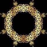 Χρυσό σχέδιο δαντελλών σε ένα μαύρο υπόβαθρο Στοκ Εικόνα