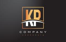 Χρυσό σχέδιο λογότυπων επιστολών της KP Κ Π με το χρυσά τετράγωνο και Swoosh απεικόνιση αποθεμάτων