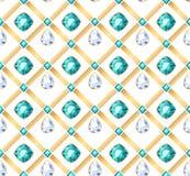 Χρυσό σχέδιο πολύτιμων λίθων αλυσίδων άσπρο και πράσινο Στοκ φωτογραφία με δικαίωμα ελεύθερης χρήσης