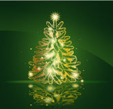 χρυσό σύγχρονο δέντρο Χρι&sigma Στοκ φωτογραφία με δικαίωμα ελεύθερης χρήσης