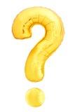 Χρυσό σύμβολο ερωτηματικών φιαγμένο από διογκώσιμο μπαλόνι αέρα Στοκ φωτογραφία με δικαίωμα ελεύθερης χρήσης