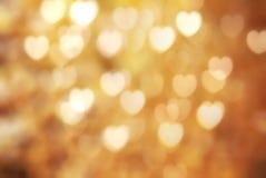 Χρυσό σύμβολο καρδιών bokeh Στοκ εικόνα με δικαίωμα ελεύθερης χρήσης