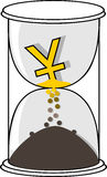 Χρυσό σύμβολο νομίσματος Yuan ή γεν στην άσπρη κλεψύδρα απεικόνιση αποθεμάτων