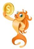 Χρυσό σύμβολο δολαρίων εκμετάλλευσης ψαριών Στοκ Φωτογραφίες