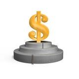 Χρυσό σύμβολο χρημάτων στην εξέδρα concret Στοκ εικόνες με δικαίωμα ελεύθερης χρήσης