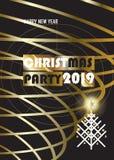 2019 χρυσό σύνολο ΚΑΡΤΩΝ διακοσμήσεων πολυτέλειας γεγονότος Χριστουγέννων καλής χρονιάς χειμερινών διακοπών ελεύθερη απεικόνιση δικαιώματος