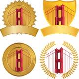 χρυσό σύνολο πυλών λεπτομέρειας γεφυρών Στοκ Εικόνα