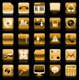 χρυσό σύνολο iphone εικονιδίω Στοκ εικόνες με δικαίωμα ελεύθερης χρήσης