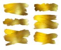 Χρυσό σύνολο απεικόνισης φύλλων αλουμινίου Να λάμψει λεκέδων χρωμάτων σύστασης Watercolor αφηρημένο κτύπημα βουρτσών για σας κατα Στοκ φωτογραφίες με δικαίωμα ελεύθερης χρήσης