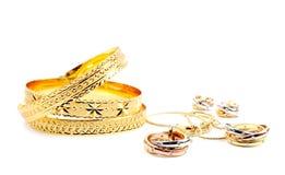 χρυσό σύνολο κοσμήματος Στοκ Εικόνες