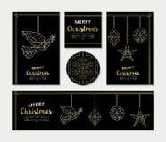 Χρυσό σύνολο προτύπων ευχετήριων καρτών Χριστουγέννων Στοκ εικόνες με δικαίωμα ελεύθερης χρήσης