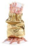 Χρυσό σύνολο σάκων των χρημάτων που απομονώνεται στο λευκό Στοκ Φωτογραφία
