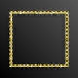Χρυσό τετράγωνο τσεκιών πλαισίων Ακτινοβολήστε, σπινθήρισμα Στοκ εικόνα με δικαίωμα ελεύθερης χρήσης