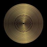 Χρυσό τρισδιάστατο γεωμετρικό ελληνικό διανυσματικό στρογγυλό σχέδιο mandala Διακοσμητικό κατασκευασμένο αφηρημένο υπόβαθρο πιάτω διανυσματική απεικόνιση