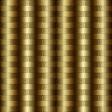 Χρυσό τρισδιάστατο ελληνικό βασικό διανυσματικό άνευ ραφής σχέδιο μαιάνδρου ελεύθερη απεικόνιση δικαιώματος