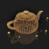 Χρυσό τρισδιάστατο teapot χαντρών Στοκ Εικόνες