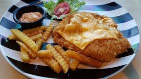 Χρυσό τυρί κοτόπουλου στοκ εικόνα με δικαίωμα ελεύθερης χρήσης