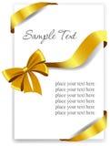 Χρυσό τόξο δώρων με τις κορδέλλες απεικόνιση αποθεμάτων